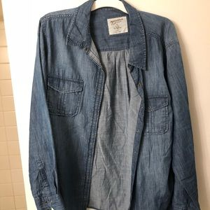 Long sleeve blue jean shirt